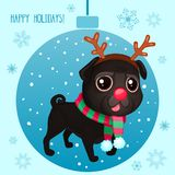 Vector cartoon Christmas dog. Symbol of new year 2018. Color illustrations with cute black pug in a deer costume. Winter background with Christmas ball and Royalty Free Illustration