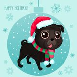 Vector cartoon Christmas dog. Symbol of new year 2018. Color illustrations with cute black pug in Santa`s hat and striped scarf. Winter background with Royalty Free Illustration