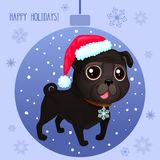 Vector cartoon Christmas dog. Symbol of new year 2018. Color illustrations with cute black pug in Santa`s hat. Winter background with Christmas ball and Stock Illustration