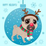 Vector cartoon Christmas dog. Symbol of new year 2018. Color illustrations with cute pug in a deer costume. Winter background with Christmas ball and snowflakes Stock Illustration