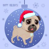Vector cartoon Christmas dog. Symbol of new year 2018. Color illustrations with cute pug in Santa`s hat. Winter background with Christmas ball and snowflakes Vector Illustration