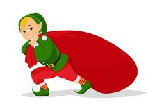 Vector cartoon christmas elf with bag for gifts Stock Photos