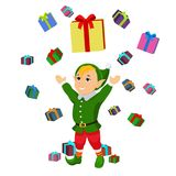 Vector cartoon christmas elf falling boxes gifts Royalty Free Stock Images