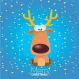 Vector cartoon Christmas reindeer character. Stock Photo