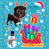Vector cartoon Christmas set. Color illustrations with a Christmas dog, snowman, sleigh and gifts. New year set with cute black pug Royalty Free Illustration