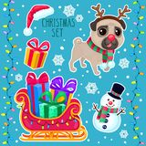 Vector cartoon Christmas set with a Christmas pug. Color illustrations with a Christmas dog, snowman, sleigh and gifts. New year set with cute pug Stock Illustration
