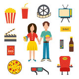 Vector cartoon cinema time objects Royalty Free Stock Image