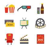 Vector cartoon cinema time objects Royalty Free Stock Images