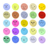 Vector cartoon circle set of emoticons. Royalty Free Stock Photos