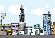 Vector cartoon city / Color Neighborhood Royalty Free Stock Image