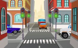 Vector cartoon city crossroad with traffic lights. Vector cartoon illustration city crossroad with green traffic lights and cars, intersection of roads. Urban vector illustration