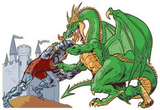 Knight Wrestling Dragon Vector Illustration. Vector cartoon clip art illustration of a muscular knight mascot wrestling with a tough mean dragon on a castle Royalty Free Stock Image