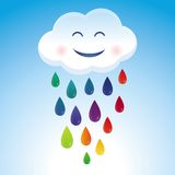 Vector cartoon cloud and rainbow drops Stock Image
