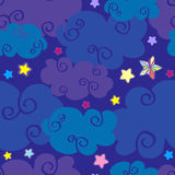 Vector cartoon clouds and stars nighttime seamless pattern. Wallpaper background dreamland illustration Royalty Free Stock Photos