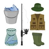 Vector fishing collection. Fish-rod, boots, sweep-net, vest and bucket stock images