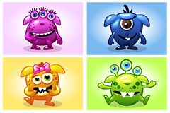 Vector cartoon collection four cute babies monsters, funny character set vector illustration