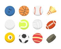 Vector cartoon colorful ball set. sport balls icons isolated.  Royalty Free Stock Photo