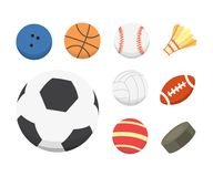 Vector cartoon colorful ball set. sport balls icons isolated.  Royalty Free Stock Image