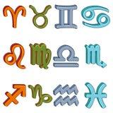 Vector Cartoon Colorful Set of 12 Zodiac Signs. Elements Color. Vector Cartoon Set of 12 Zodiac Signs. Elements Color vector illustration