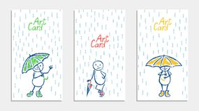 Funny man with umbrella and rain card set. Wax crayon pencil or pastel chalk like kid`s hand drawn. vector illustration