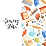 Vector cartoon cooking ingridients or groceries background illustration with lettering. Poster assortment soda and grocery nutritious vector illustration