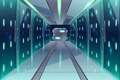 Vector corridor in spaceship, server center, datacenter. Vector cartoon corridor in a spaceship, datacenter with server racks. The illuminated passage in a vector illustration