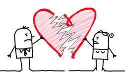 Cartoon Couple with Broken Heart. Vector  Cartoon Couple with Broken Heart Stock Image