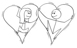 Vector Cartoon of Couple of Man and Woman in Love Trapped Together Inside of Big Hearts. Vector cartoon stick figure drawing conceptual illustration of couple of royalty free illustration