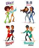 Vector cartoon of a couples dancing tango, rumba, disco and hip hop Royalty Free Stock Photography