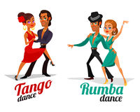 Vector cartoon of a couples dancing tango and rumba Royalty Free Stock Photo