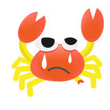 Vector Cartoon Crab injured. Vector Design Cartoon Crab Cry Royalty Free Stock Photography