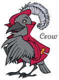 Vector cartoon crow in jacket and beret Royalty Free Stock Photography