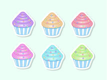 Vector cartoon cupcakes Royalty Free Stock Photography