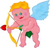 Vector cartoon cupid boy aiming Stock Photo