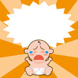 A Vector Cartoon Cute Baby Crying And Space For Text Royalty Free Stock Images