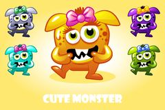Vector cartoon cute baby monster in different colors, funny character set stock illustration