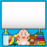 A Vector Cartoon Cute Baby And Toys With,Board For Text royalty free illustration