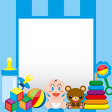 A Vector Cartoon Cute Baby And Toys With,Board For Text vector illustration