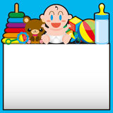 A Vector Cartoon Cute Baby And Toys With,Board For Text stock illustration