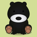 Vector Cartoon Cute Black Bear Sitting Isolated Royalty Free Stock Photography