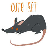 Vector cartoon cute black rat icon. Icon for games ui, tablets, smart phones Stock Images