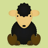 Vector Cartoon Cute Black Sheep Isolated Royalty Free Stock Images