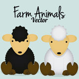 Vector Cartoon Cute Black Sheep And White Sheep Stock Photo
