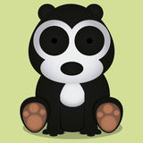 Vector Cartoon Cute Black And White Bear Sitting Isolated Royalty Free Stock Photo