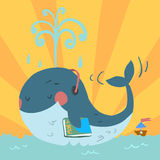 Vector cartoon cute blue whale. With headphones in sea and with tiny ship Royalty Free Stock Image