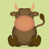 Vector Cartoon Cute Brown Bull Sitting Isolated Royalty Free Stock Image