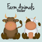 Vector Cartoon Cute Bull And Cow Couple Stock Photography