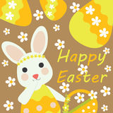 Vector cartoon of cute bunny bring basket and yellow egg Stock Images