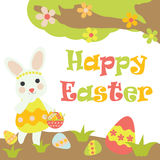 Vector cartoon of cute bunny brings a basket of colorful egg Royalty Free Stock Photo