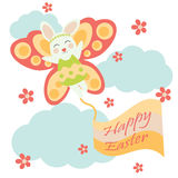 Vector cartoon of cute bunny with butterfly custom. For Easter postcard, greeting card and wallpaper Stock Image